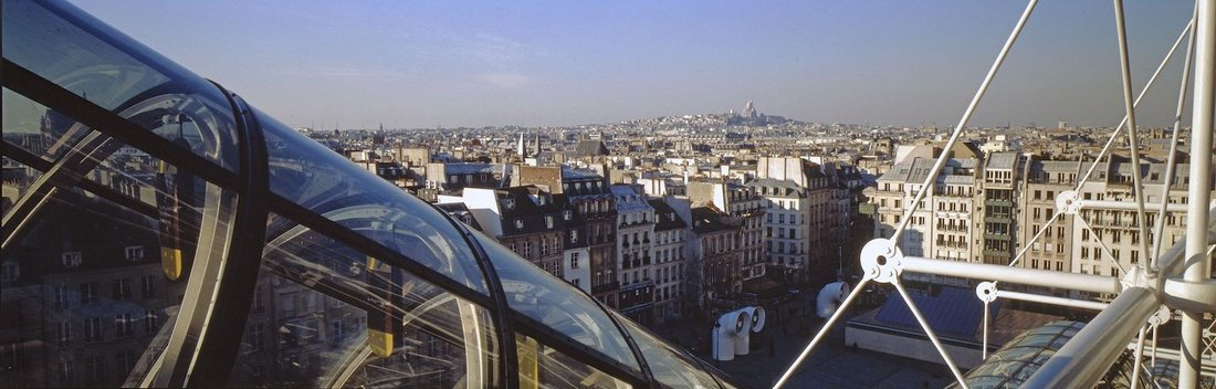 "The ""caterpillar"" and the view of Paris"