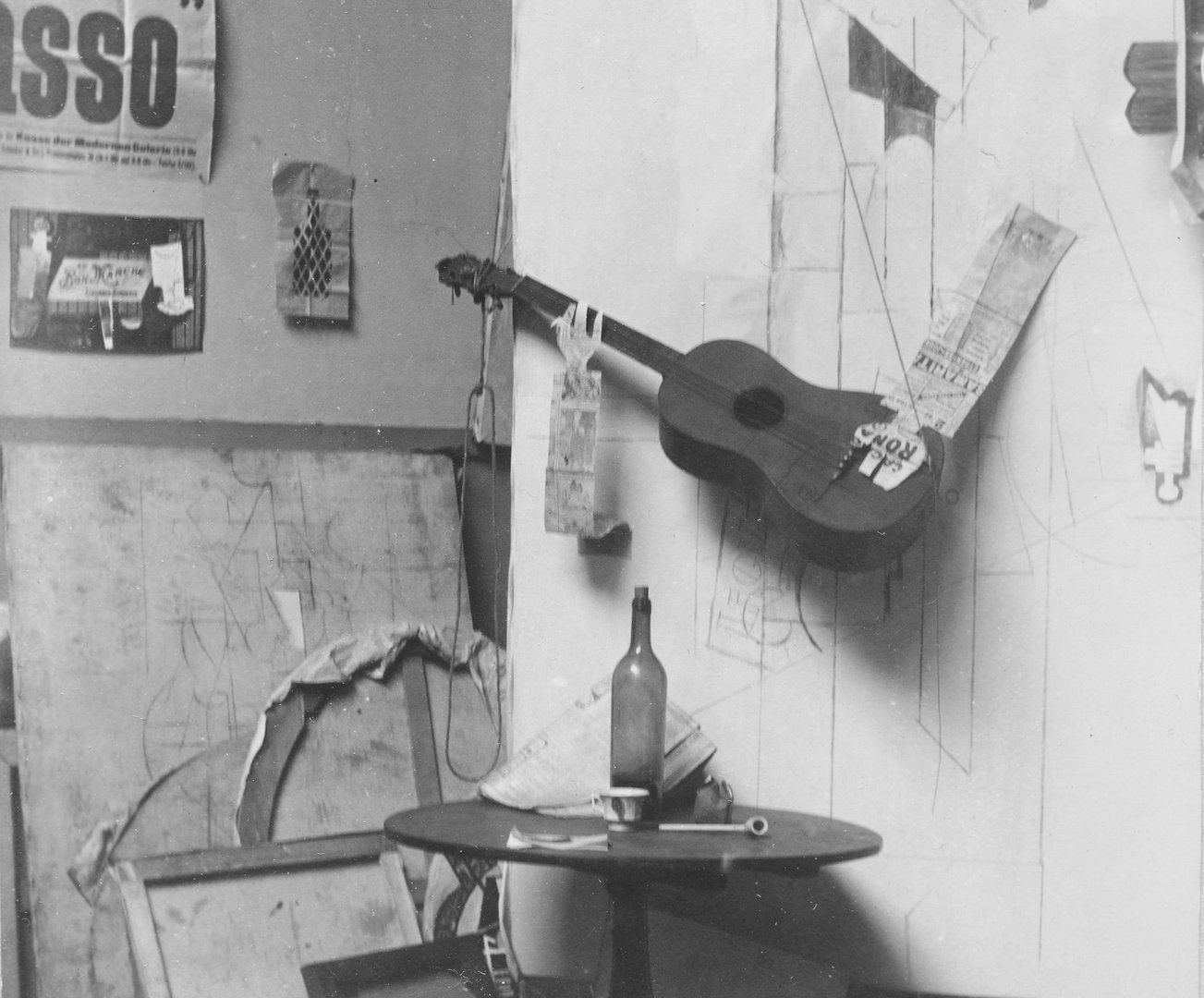 Pablo Picasso, composition photographique à la « Construction au joueur de guitare », 1913
