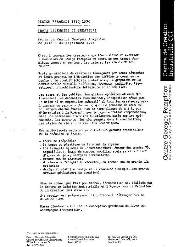 L 39 v nement design fran ais 1960 1990 centre pompidou for Design francais